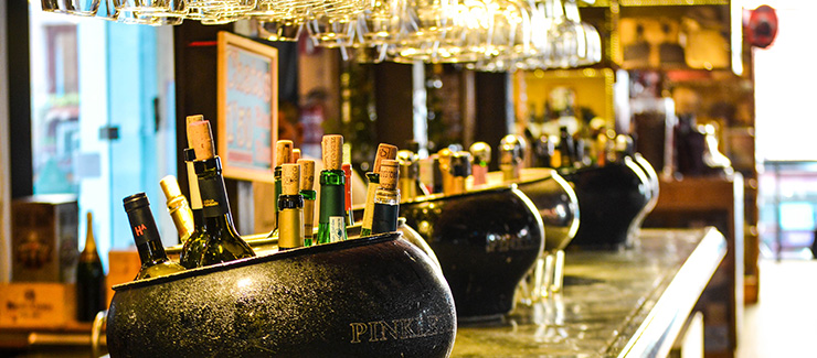Bottles of cava in a Madrid bar