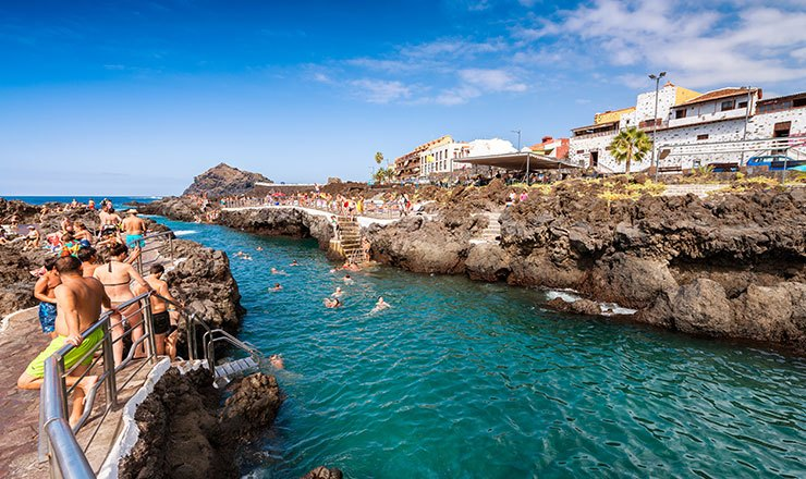 View of the natural sea pools at Garachico, Tenerife