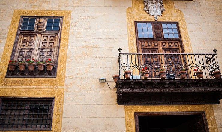 Rustic view of La Orotava's charming balconies in Tenerife
