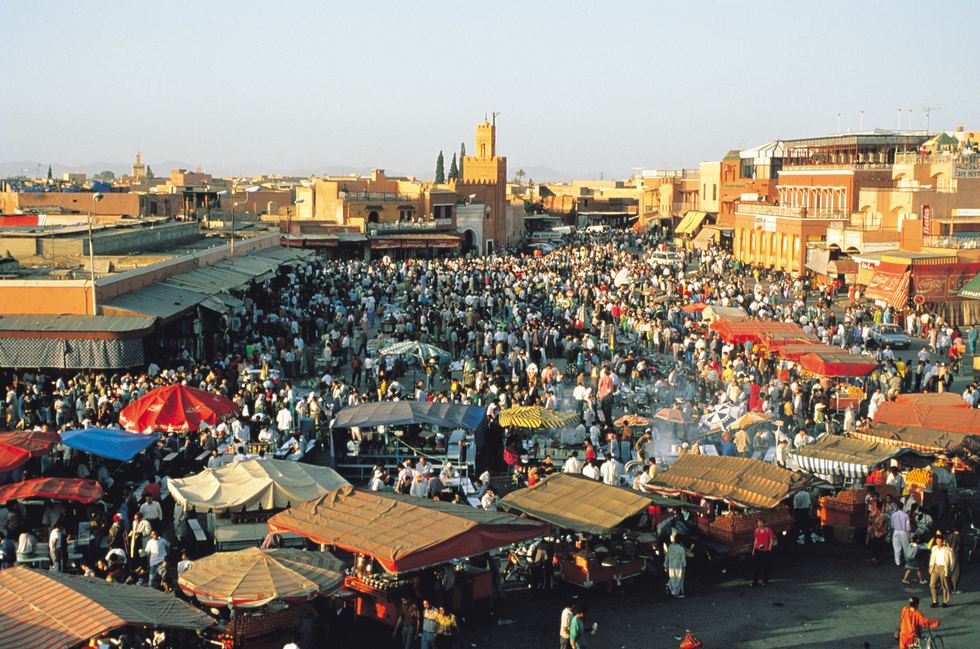 Crowded market in Morocco